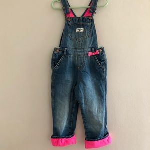 OshKosh B'gosh denim overalls fleece lined pink